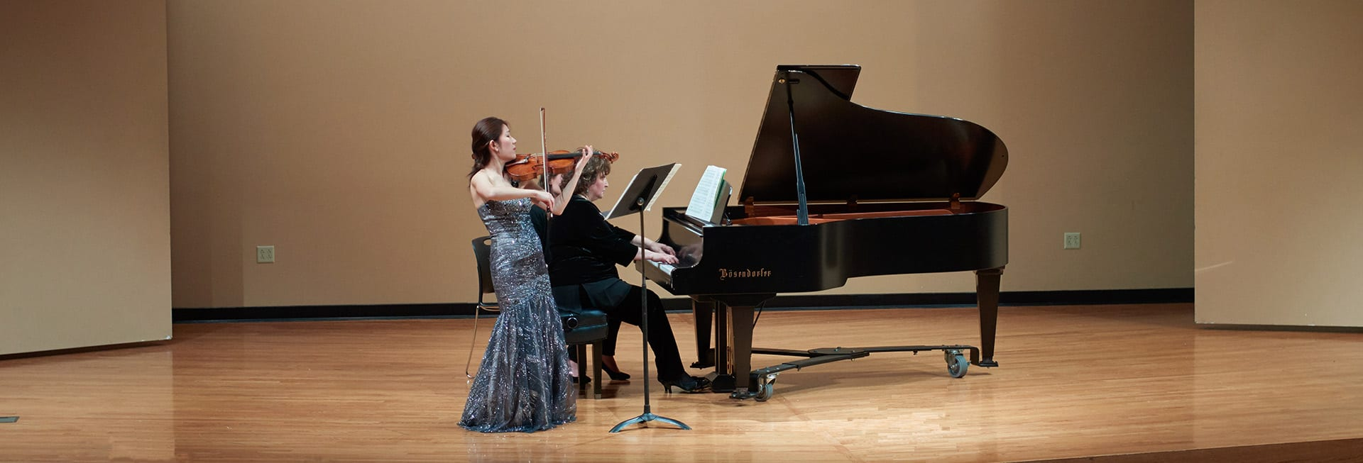 Violinist and Pianist Perform at a Music at Maryville Concert