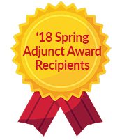 Spring 2018 adjunct award recipients ribbon