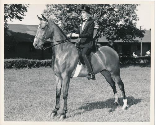 Madonna Buder, SFCC, riding Wally Highland in June 1948