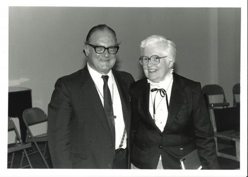 Mary Byles, RSCJ, with Robert Muller, Asst Secretary General of the UN, 8 April, 1985, at Maryville