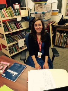 Natalie Crawford interning at Kirkwood Library.