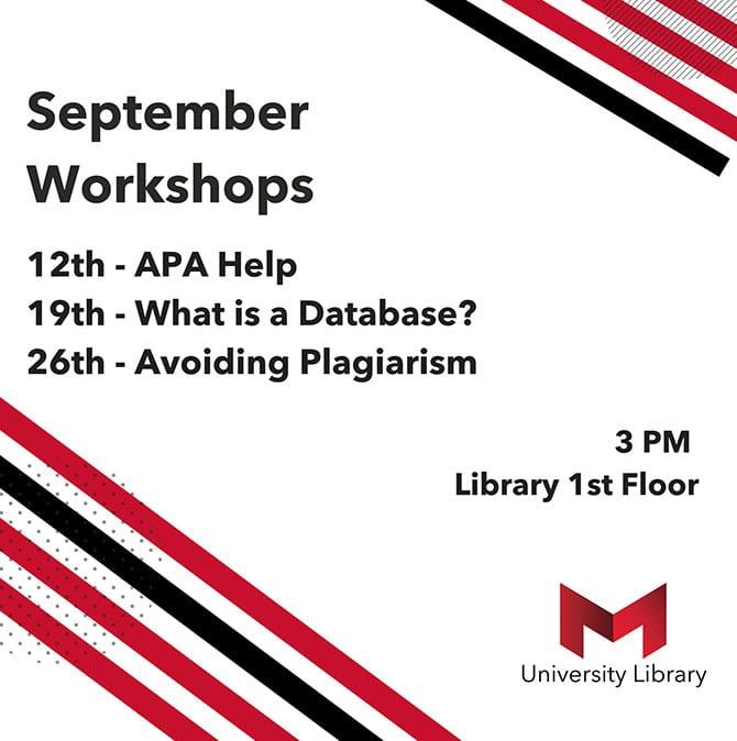 September 2018 workshop schedule