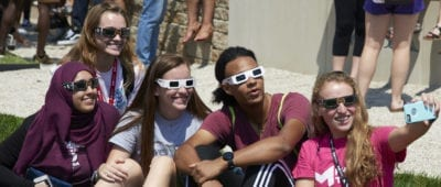 Eclipse watchers at Maryville University