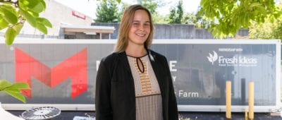 Olivia Engle, production manager of the Maryville Freight Farm