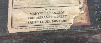 Maryville University receives a steamer trunk, circa 1910, belonging to Sister Elizabeth Nagel.