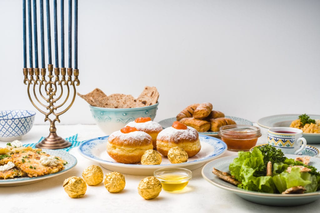 Jewish holiday Hanukkah, traditional feast side view horizontal