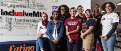 Diverse group of students part of inclusive Maryville University group