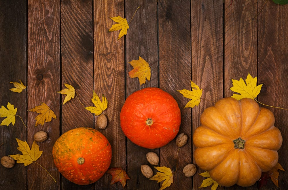 fall decor on a table