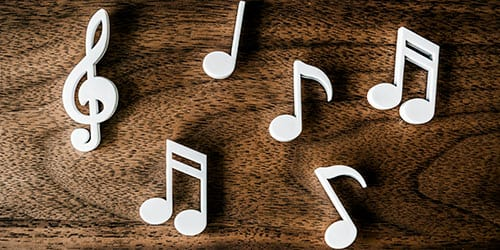 music notes on a table