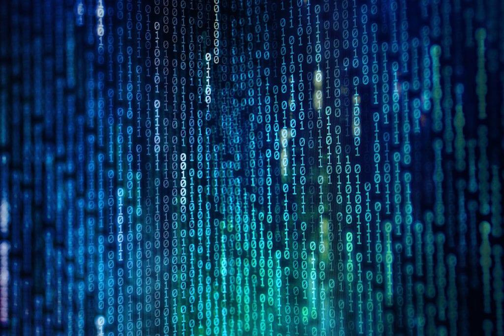 stock photo of data running down on screen