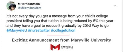 tweet screenshot of parent excited about tuition decrease
