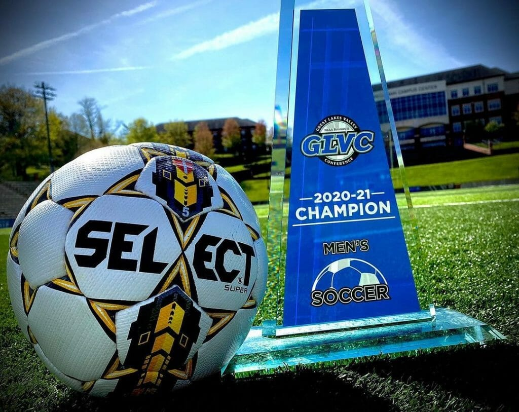 Maryville Soccer championship trophy GLVC