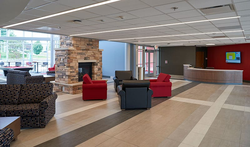 Grand Fireplace W Vaulted Ceilings Beams Open Floor: New Residence Hall