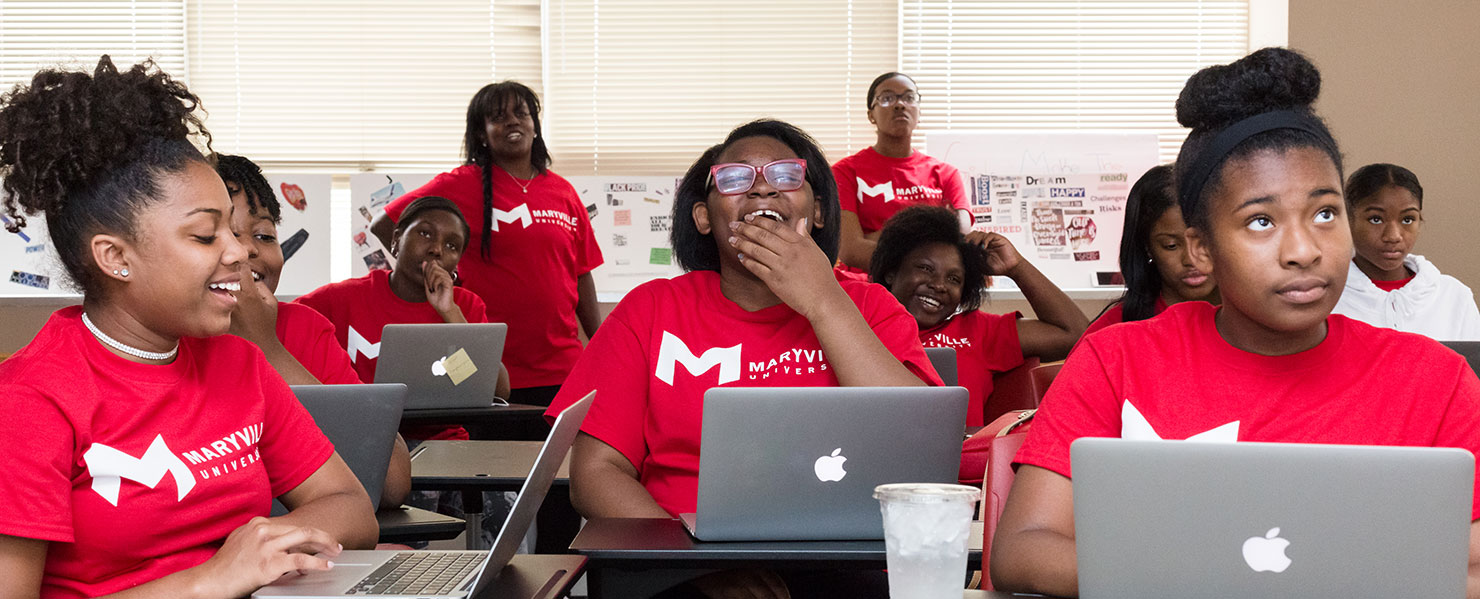 Boys and Girls Club members learning coding at maryville university