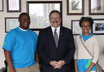 President Lombardi with 2 teen leaders from Wyman