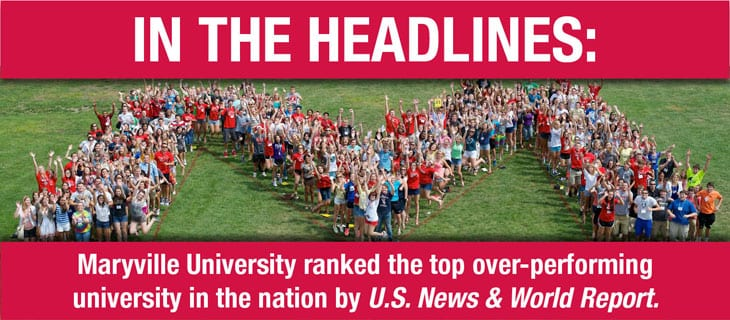 Maryville University ranked the top over-performing university in the nation.