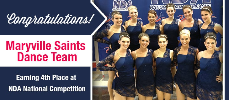 Congratulations Maryville Saints Dance Team for earning 4th place at NDA National Competition