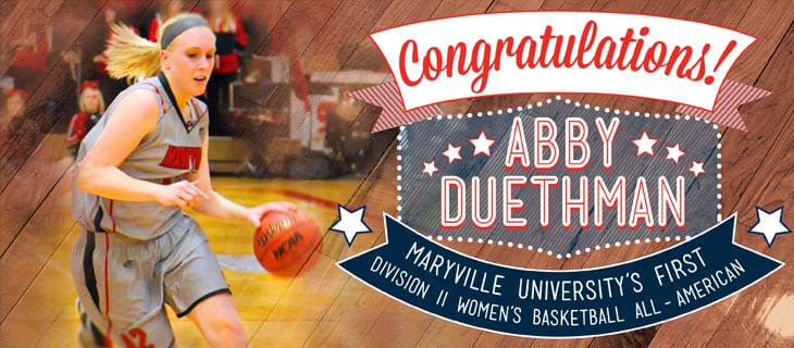Congratulations Abby Duethman Maryville University's First Wmen's Division II All-American