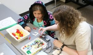 Maryville University faculty teaches students in summer robotics class as part of the Center for Access and Achievement.