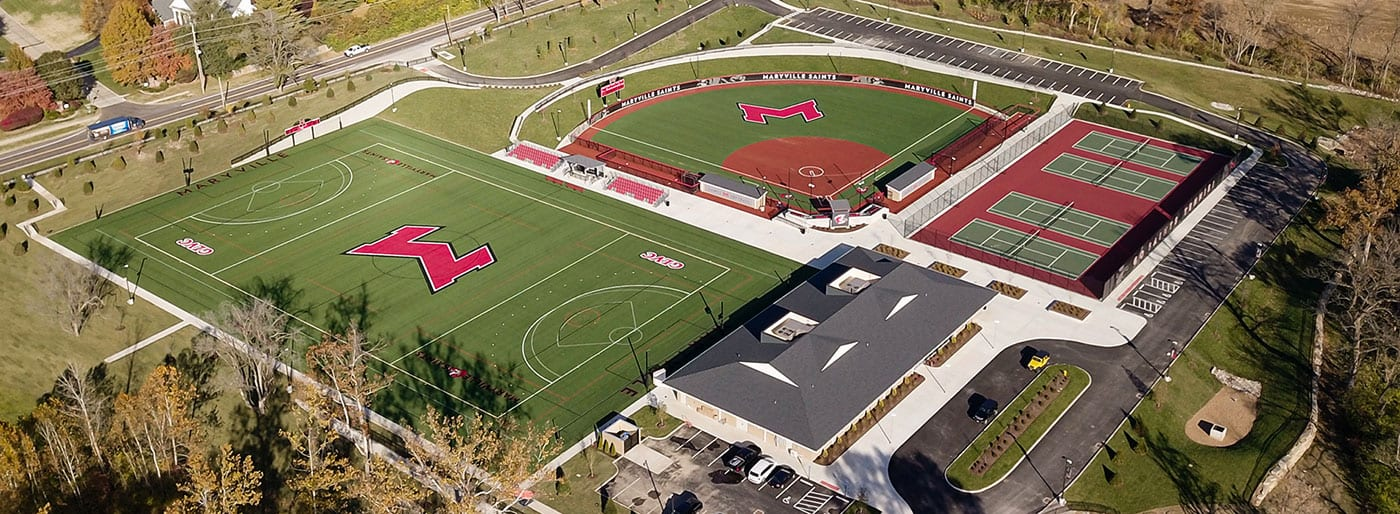 overhead view of athletic complex