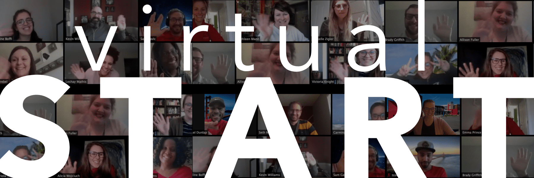 members of student success on a virtual meeting waving hello