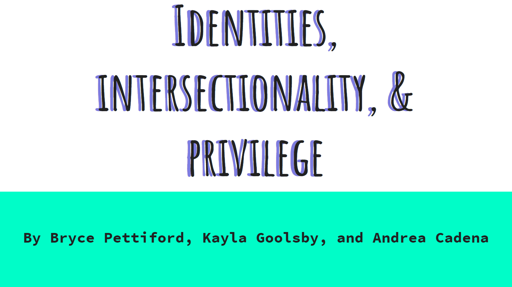 Identity, Intersectionality, and Privilege title card of slidedeck