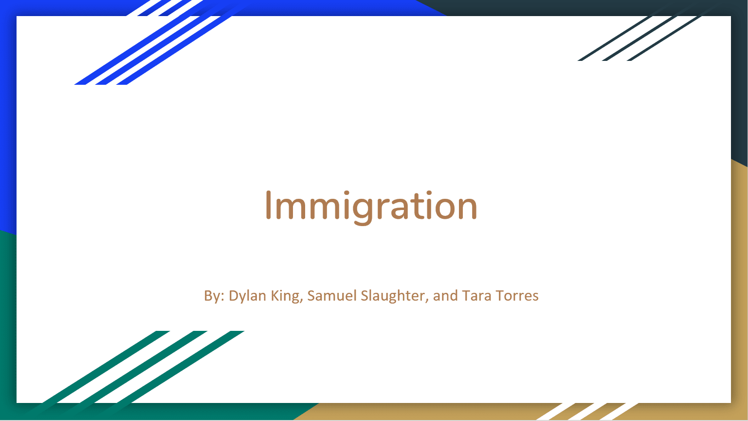 Immigration: A Foundation for our Nation and Throughout the World title card of slidedeck