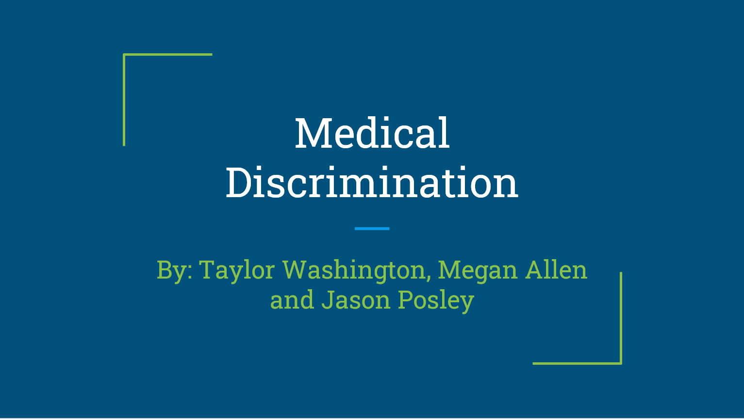 Discrimination in Health Care title card of slidedeck