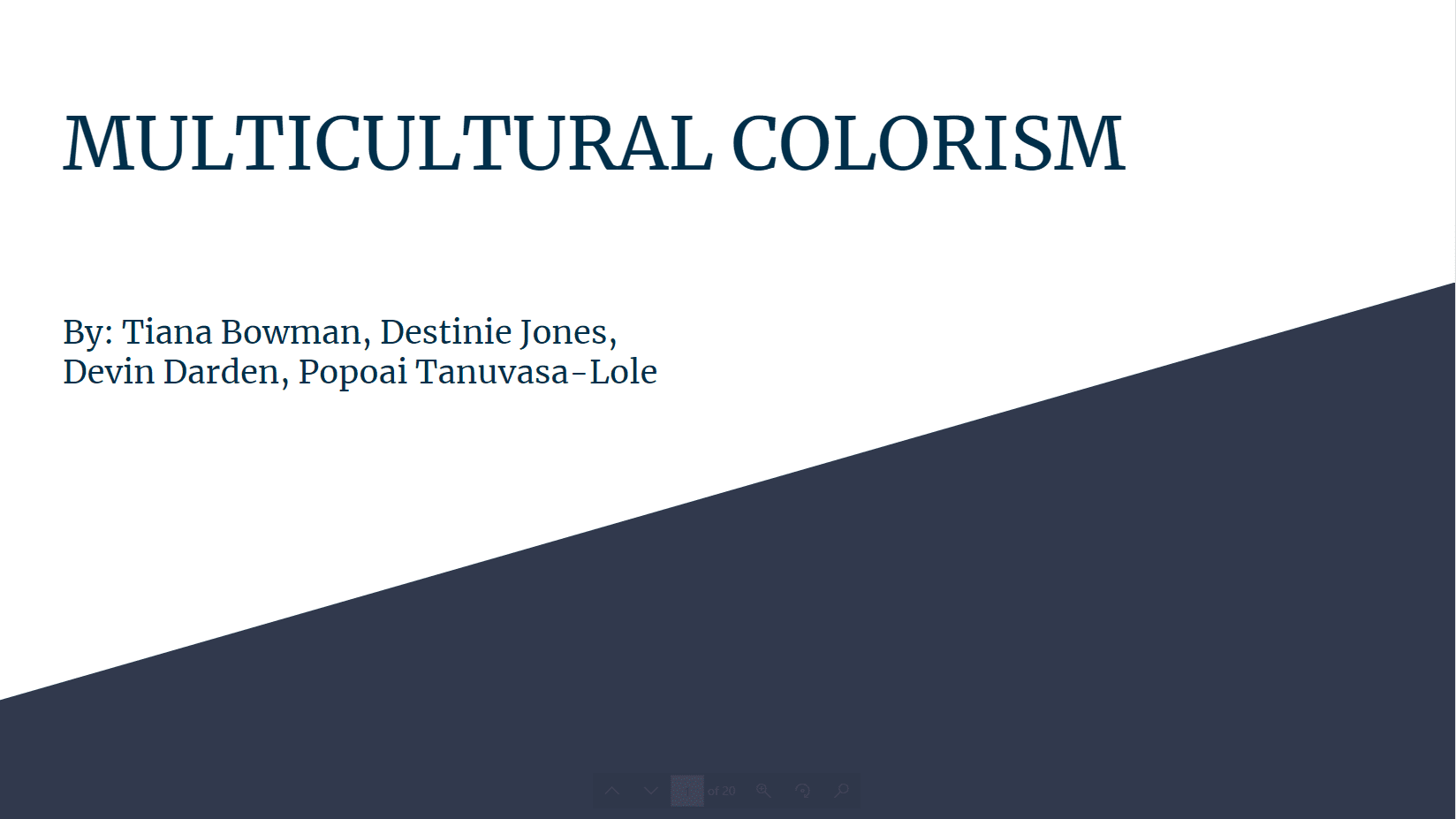 Multicultural Colorism title card of slidedeck