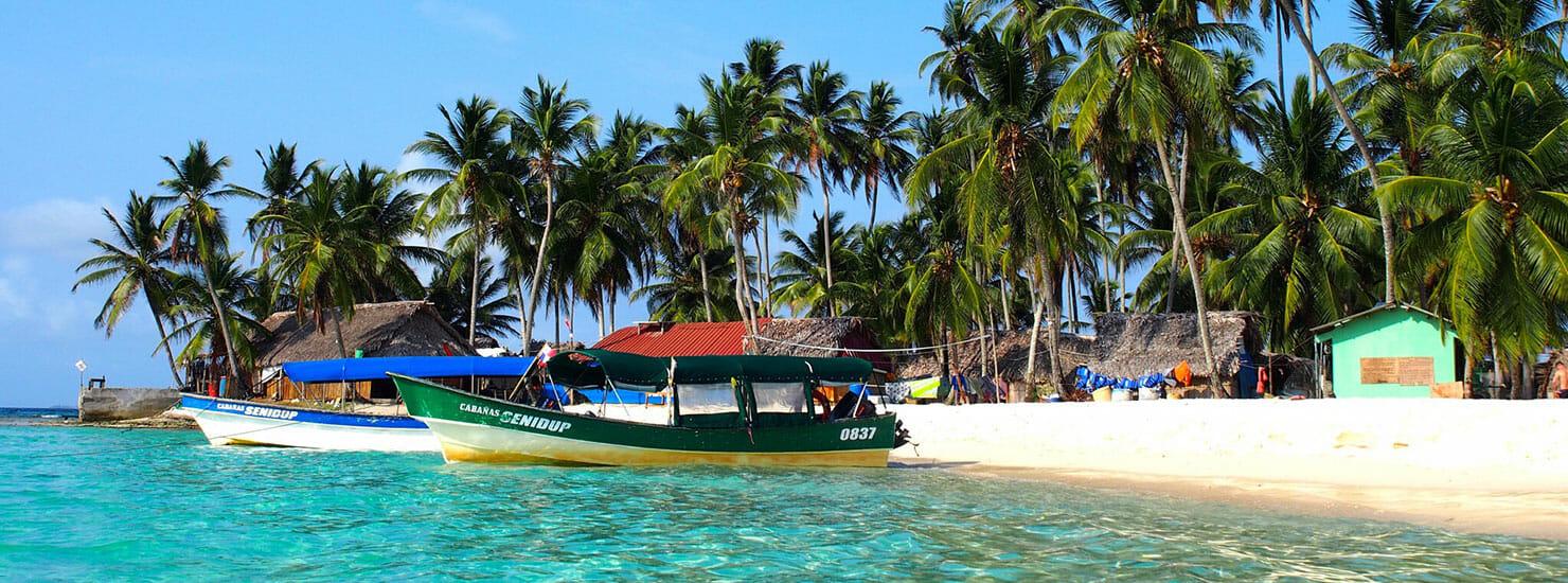 boats tied up near beach in Panama