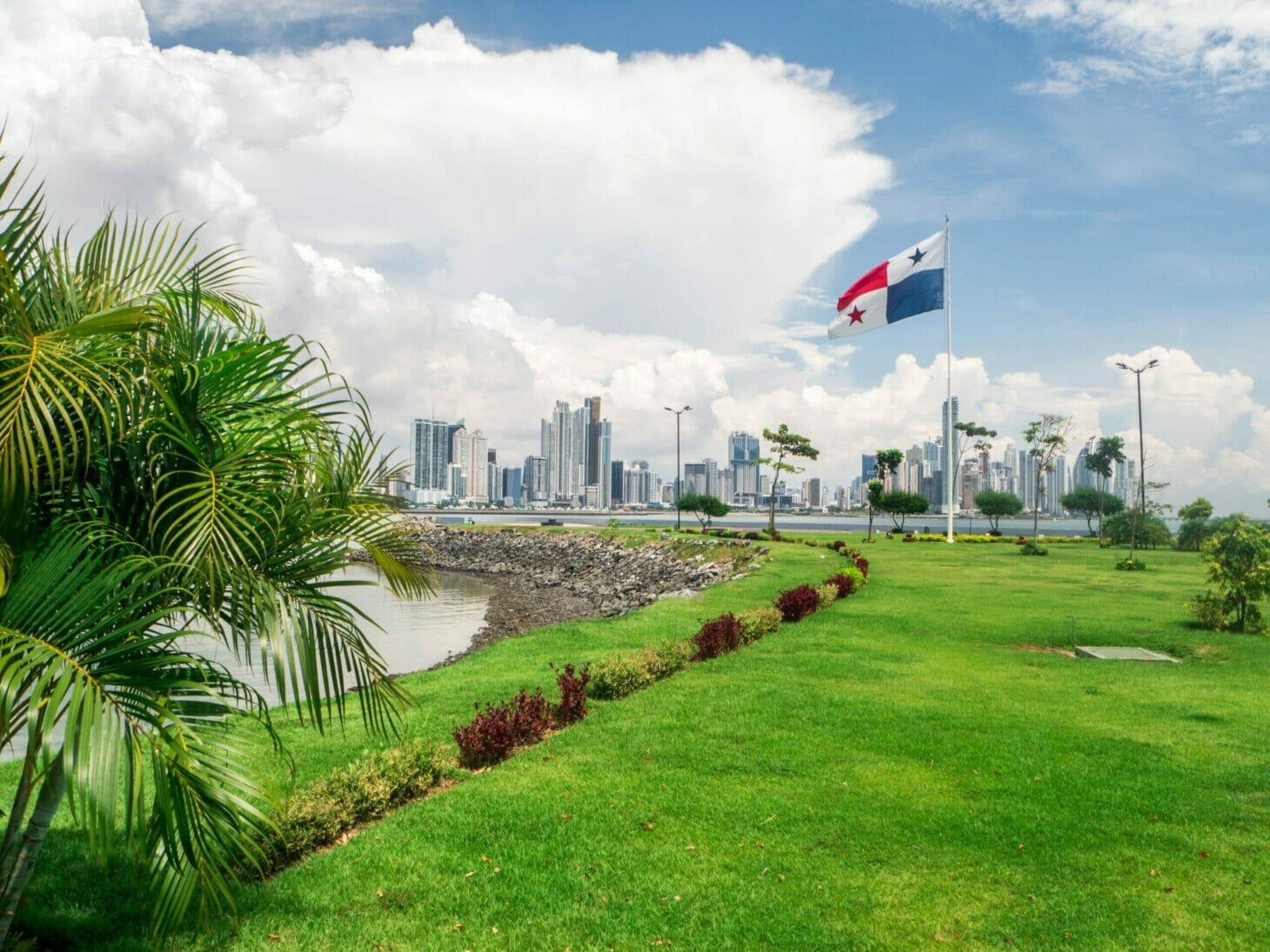 Panama flag at a park
