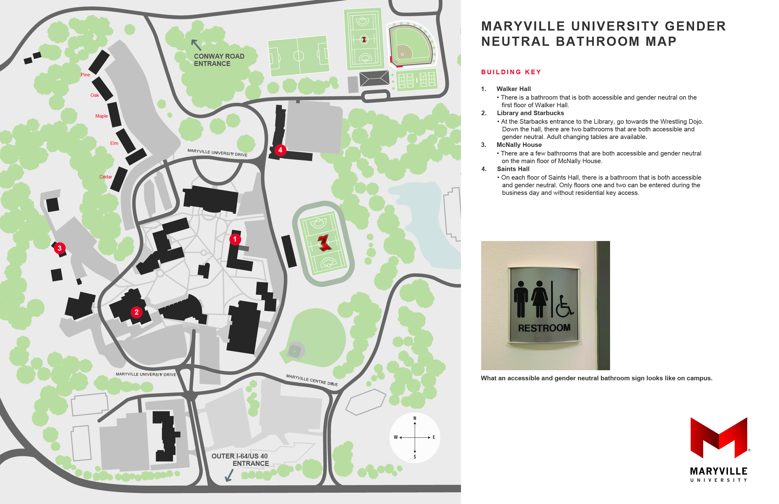 picture of campus map that shows gender neutral bathroom locations