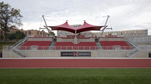 Maryville University's updated stadium at sunrise