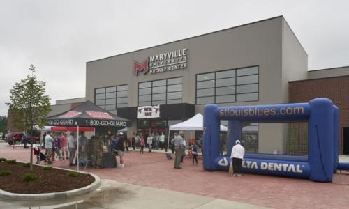 Exterior shot of entrance to Maryville's hockey center