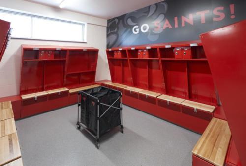 Maryville University's Athletic Complex locker room view 1
