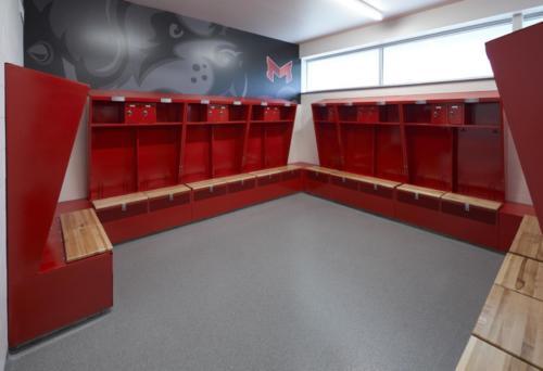 Maryville University's Athletic Complex locker room view 2
