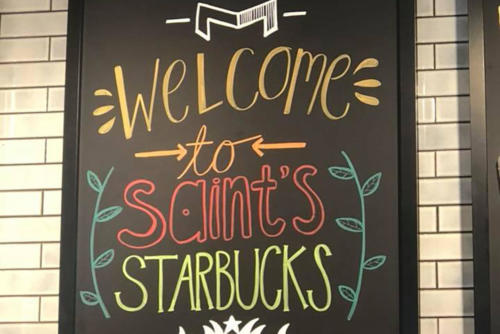 Starbucks sign welcoming university students