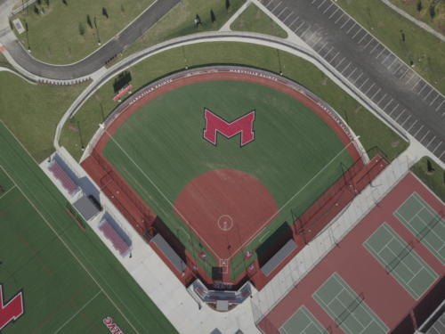 Maryville University's Athletic Complex aerial view of softball field