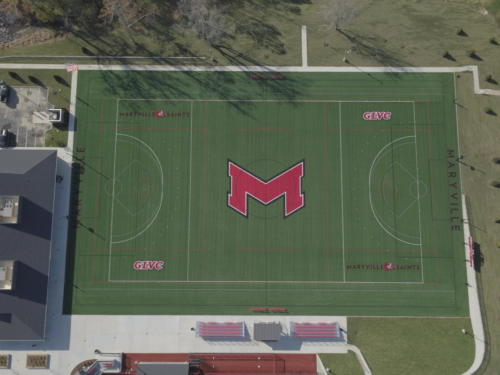 Maryville University's Athletic Complex aerial view of lacrosse field