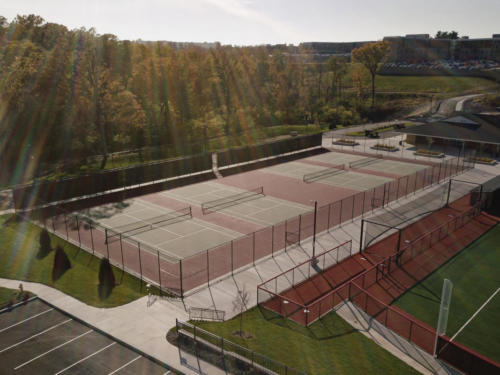 Maryville University's Athletic Complex view of tennis courts