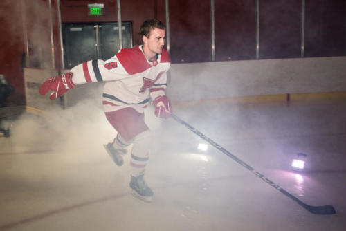 Maryville ice hockey player introduced during warm ups